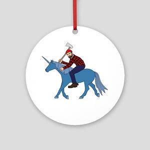 Paul Bunyan Riding Unicorn Round Ornament
