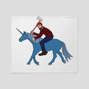 Paul Bunyan Riding Unicorn Throw Blanket