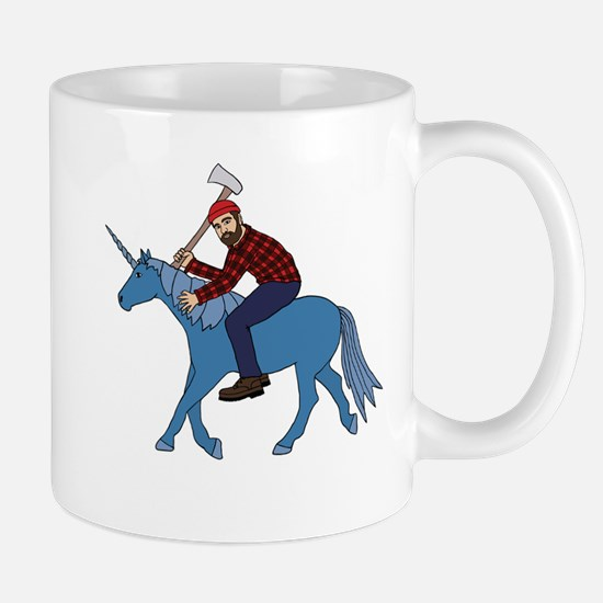 Paul Bunyan Riding Unicorn Mugs