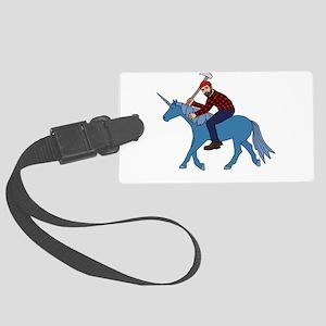 Paul Bunyan Riding Unicorn Large Luggage Tag