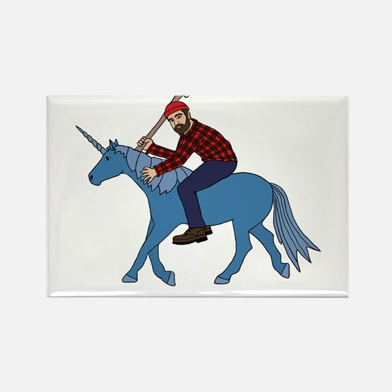 Paul Bunyan Riding Unicorn Magnets