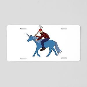 Paul Bunyan Riding Unicorn Aluminum License Plate