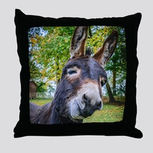 Donkey Funny Smiling Throw Pillow