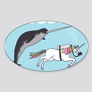 Narwhal Swimming With Unicorn Sticker