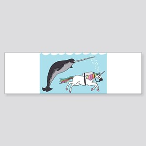 Narwhal Swimming With Unicorn Bumper Sticker