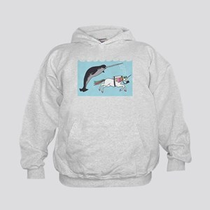 Narwhal Swimming With Unicorn Kids Hoodie