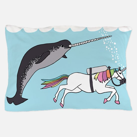 Narwhal Swimming With Unicorn Pillow Case