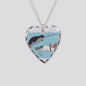 Narwhal Swimming With Unicorn Necklace Heart Charm