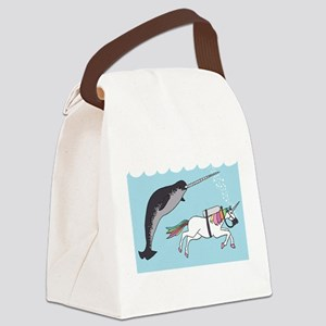 Narwhal Swimming With Unicorn Canvas Lunch Bag