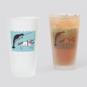 Narwhal Swimming With Unicorn Drinking Glass