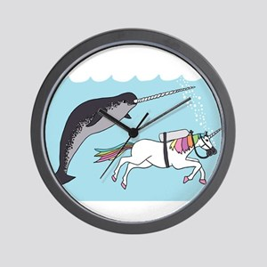 Narwhal Swimming With Unicorn Wall Clock