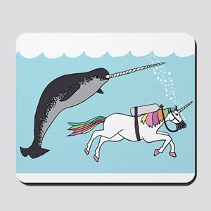 Narwhal Swimming With Unicorn Mousepad