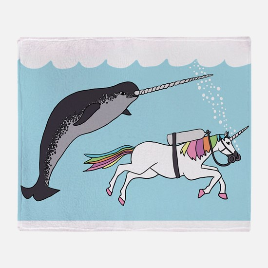 Narwhal Swimming With Unicorn Throw Blanket