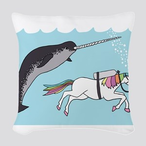 Narwhal Swimming With Unicorn Woven Throw Pillow