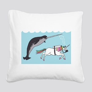 Narwhal Swimming With Unicorn Square Canvas Pillow