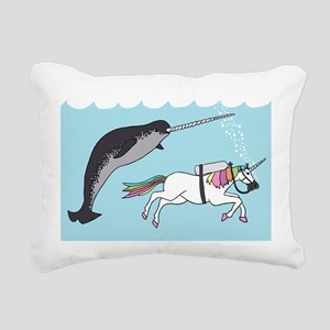 Narwhal Swimming With Un Rectangular Canvas Pillow