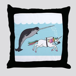 Narwhal Swimming With Unicorn Throw Pillow