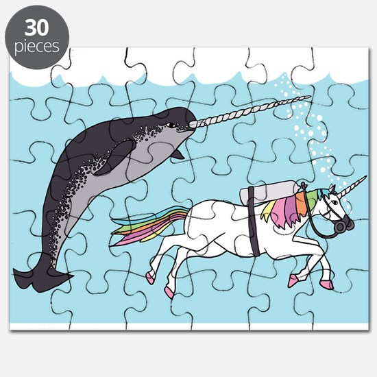 Narwhal Swimming With Unicorn Puzzle