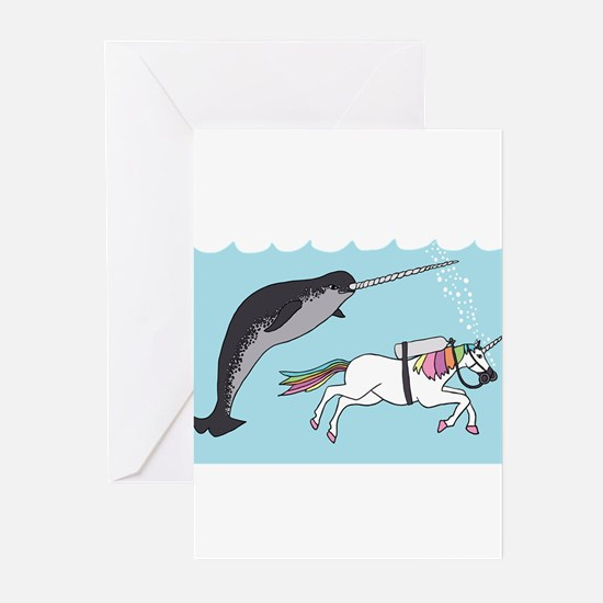Narwhal Swimming With Unicorn Greeting Cards
