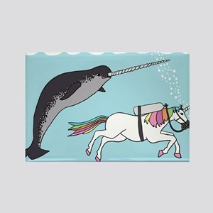 Narwhal Swimming With Unicorn Magnets