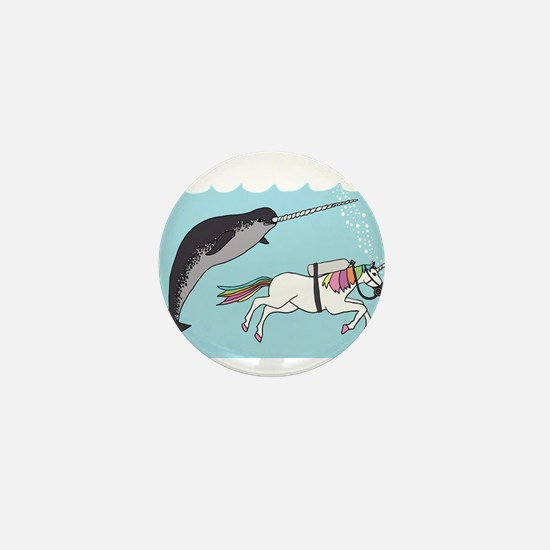 Narwhal Swimming With Unicorn Mini Button