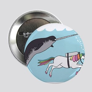 "Narwhal Swimming With Unicorn 2.25"" Button"