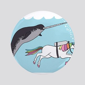 Narwhal Swimming With Unicorn Button