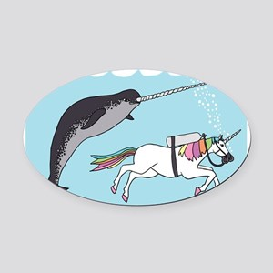 Narwhal Swimming With Unicorn Oval Car Magnet