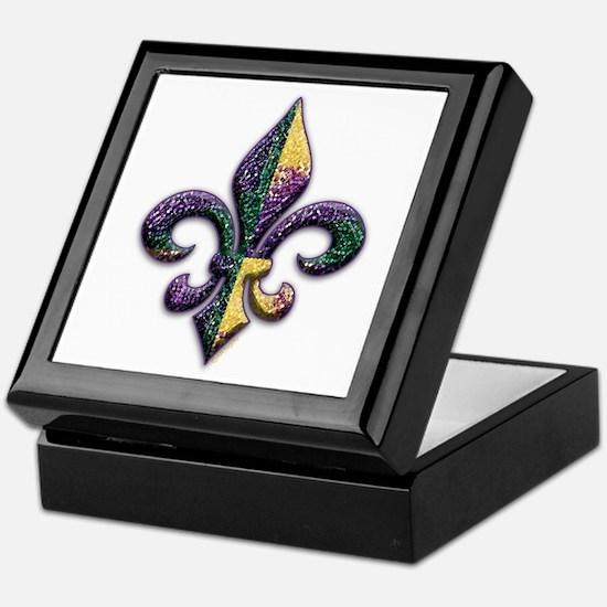 Mardi Gras Beaded Fleur Keepsake Box