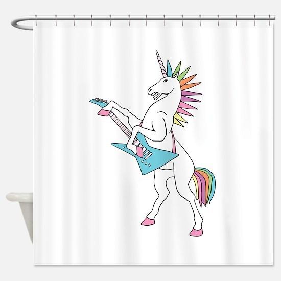 Punk Rock Unicorn Shower Curtain
