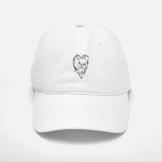 Unicorn Shaped Heart Baseball Baseball Cap