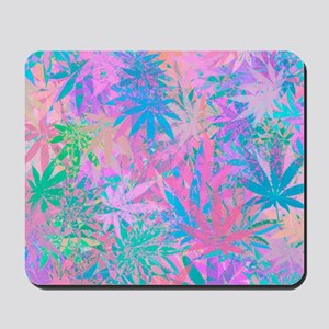 Pink Abstract Leaf Pattern Mousepad