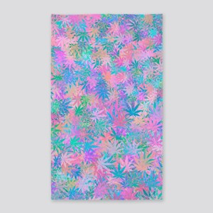 Pink Abstract Leaf Pattern Area Rug