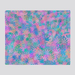 Pink Abstract Leaf Pattern Throw Blanket