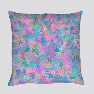Pink Abstract Leaf Pattern Everyday Pillow