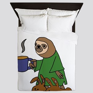 Funny Sloth Hates Mornings Queen Duvet