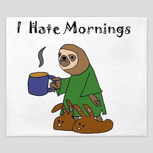 Funny Sloth Hates Mornings King Duvet