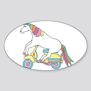 Unicorn Riding Motorscooter Sticker