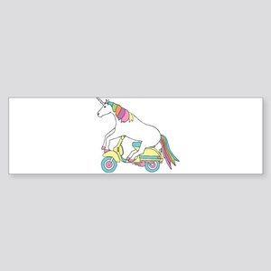 Unicorn Riding Motorscooter Bumper Sticker