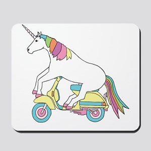 Unicorn Riding Motorscooter Mousepad