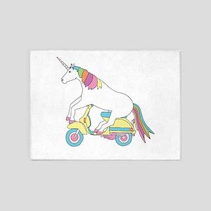 Unicorn Riding Motorscooter 5'x7'Area Rug