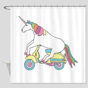 Unicorn Riding Motorscooter Shower Curtain