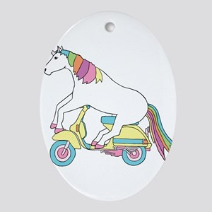 Unicorn Riding Motorscooter Oval Ornament