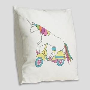 Unicorn Riding Motorscooter Burlap Throw Pillow