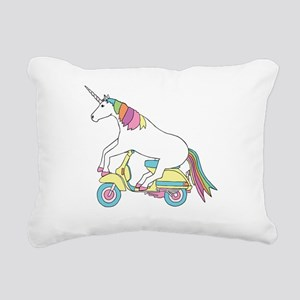 Unicorn Riding Motorscoo Rectangular Canvas Pillow