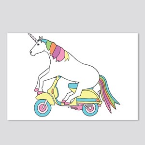 Unicorn Riding Motorscoot Postcards (Package of 8)