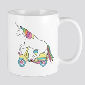 Unicorn Riding Motorscooter Mugs