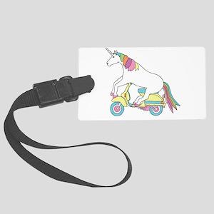 Unicorn Riding Motorscooter Large Luggage Tag