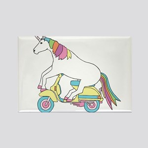 Unicorn Riding Motorscooter Magnets