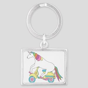 Unicorn Riding Motorscooter Keychains